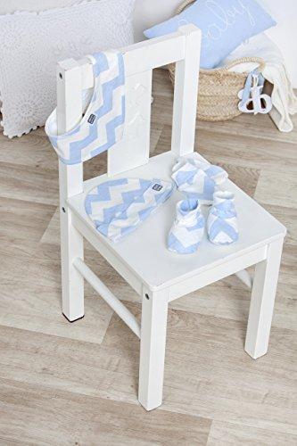 Patucos para Bebé Recién Nacido Diseño Zig Zag Color Celeste y Blanco - Colección Chevron - Minutus
