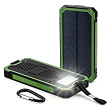 Solar Charger,GD2016 30000mAh Dual USB Port External Phone Battery Pack Solar Power Bank Power Charger Waterproof with LED Emergency Light for iPhone,iPad,Samsung,Laptops,Cell Phones (Green)