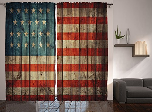 Rustic American Usa Flag Curtains By Ambesonne, Fourth Of July Independence  Day Painted Old Wooden Looking Background Patriotism, Window Drapes 2 Panel  Set ...