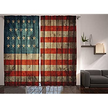 Ambesonne Rustic Decor American Usa Flag Curtains By 4th Of July Independence Day Paint Old Wooden Looking Background Patriotism Window Drapes 2 Panel Set