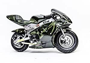 Rosso Motors Motorcycle for Kids cc Gas Mini Pocket Bike Army Camo - EPA Approved