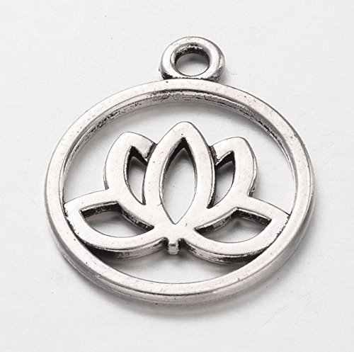 24 Silver Pewter LOTUS FLOWER Charm Pendants meditation charms yoga 20mm (CB108) ()
