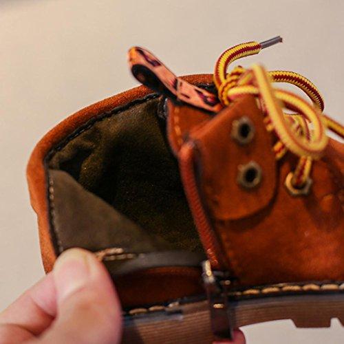 Kinder Herbst und Winter Retro Martin Stiefel, Upxiang Baby Jungen Mädchen Martin Sneaker Stiefel, Schuh Revers Design mit Buchstaben Band Braun