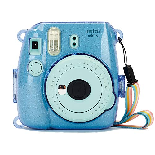 Phetium Protective Case Compatible with Fujifilm Instax Mini 9 Mini 8/8+ Instant Camera, Hard PVC Protective Cover with Adjustable Shoulder Strap (Shining Cobalt Blue)