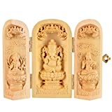 QHYT Buddha Statue Carving Locker Box, Parvati, Ganesha and Shiva Sculpture Decoration Made of Boxwood, Golden