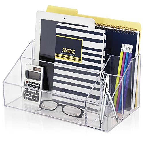 Clear acrylic desktop organizer work home office desk file - Acrylic desk organizer set ...