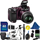 Nikon COOLPIX L830 Digital Camera (Plum) (New, White Box Packaging) DBPREMIUM Bundle + DBPREMIUM 6pc Starter Kit + DBPREMIUM 16GB Memory + Extra Battery Pack + Tripod + Case + 12pc Kit