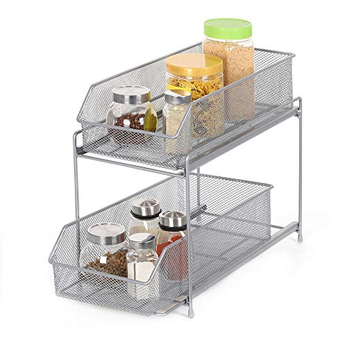 (2-Tier Sliding Cabinet Basket Organizer Drawer in Silver for Bathroom Kitchen Office)