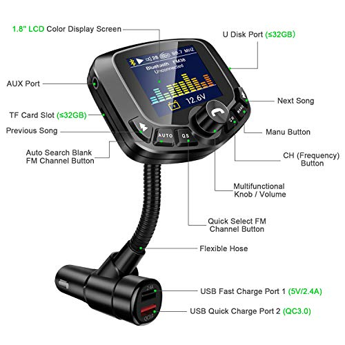 lohi bluetooth fm transmitter for car wireless radio. Black Bedroom Furniture Sets. Home Design Ideas
