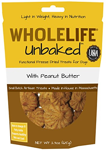 Whole Life Pet Unbaked Treats for Dogs-Healthy Skin & Coat Peanut Butter Flavor, 2.3-Ounce