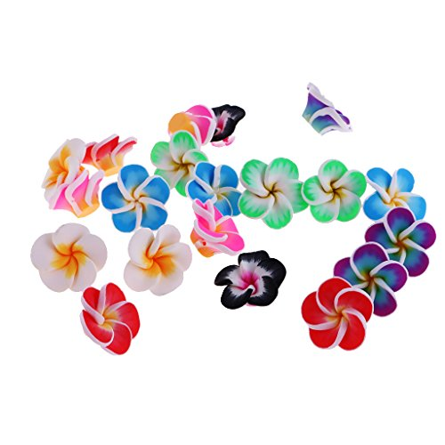 Mixed Color Assorted Hawaiian Loose Plumeria Polymer Clay Flower Beads for Jewelry Makings - 20mm, 20mm (Plumeria Clay)