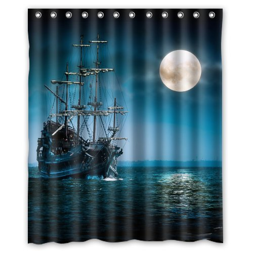 Custom Waterproof Bathroom Pirate Ship Shower Curtain Polyester Fabric Size 60 X 72