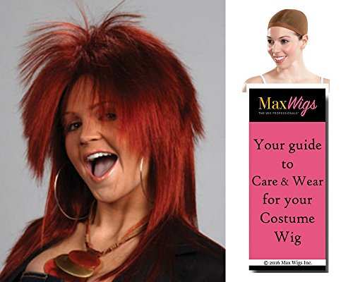 Tina Turner Deluxe color BLONDE - Enigma Wigs Punk Rocker Cosplay 80s Rock Bundle with Cap, MaxWigs Costume Wig Care Guide -