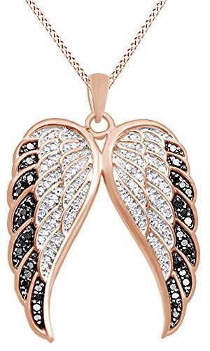 - White & Black Natural Diamond Angel Wing Pendant Necklace in 14K Rose Gold Over Sterling Silver (0.5 Ct)