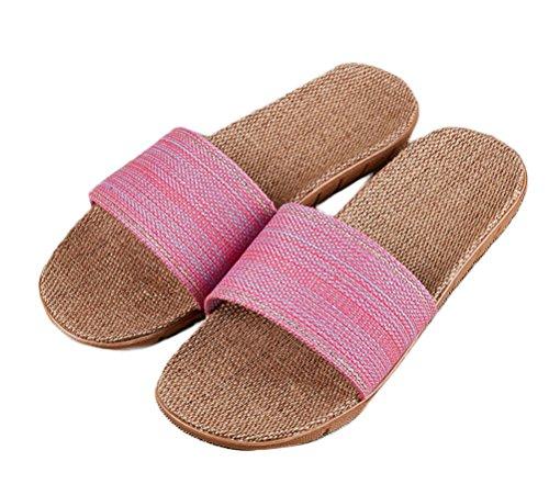 Nanxson(TM) Women Mens Home Wear Summer Anti Skid Linen Slipper TX0026 Pink rps1t