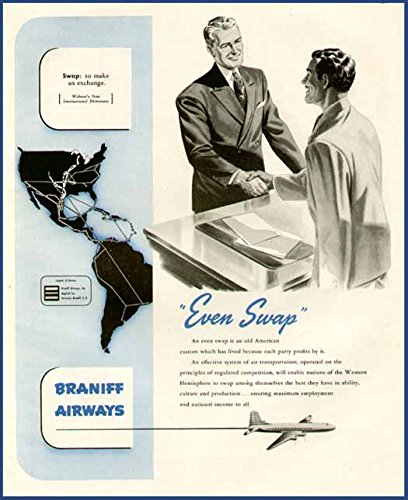 1945 AD FOR BRANIFF AIRWAYS - AEROVIAS BRANIFF S.A. Original Paper Ephemera Authentic Vintage Print Magazine Ad / Article