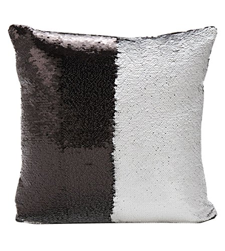 Reversible Sequin Mermaid Glitter Sofa Cushion Cover Pillow (White and Black)