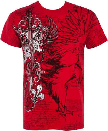 TG427T Eagle,Sword and Chains Metallic Silver Embossed Short Sleeve Crew Neck Cotton Mens Fashion T-Shirt - Red/Large (Designer Outlet New Jersey)