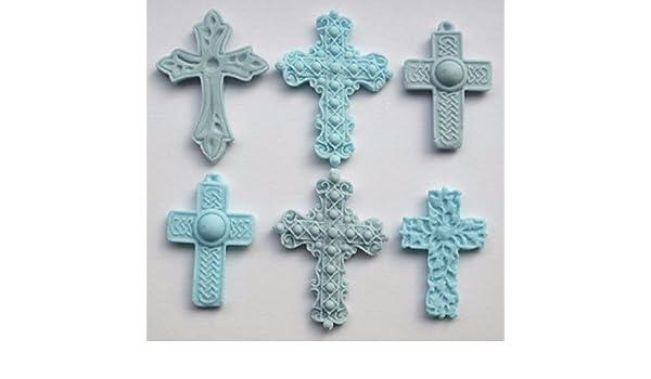 Fairy Dust Creations 6 Comestible Cruz Azul para Bautizo, Bautismo, decoración de Pasteles Cupcake: Amazon.es: Hogar