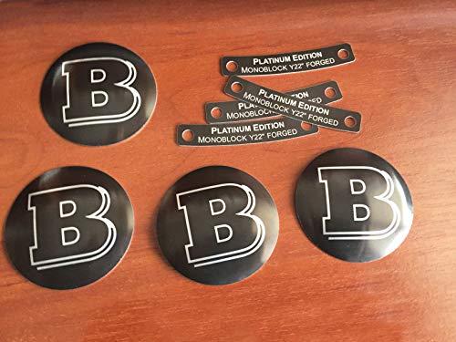 (kit-car Brabus Style – 8 pcs Set – 4 Wheels Center Caps Metal Covers Hub Caps + 4 Monoblock Forged Rims Metal Plates Platinum Edition – for Mercedes-Benz Vehicles)
