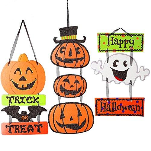 LeeSky Halloween Trick or Treat Hanging Sign Decoration Happy Halloween Sign Door and Wall Signs,for Home,School,Outdoor,Halloween Party (Halloween Treats For School)