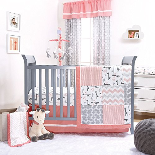 Uptown Girl Coral and Grey Baby Crib Bedding - 20 Piece Nursery Essentials Set