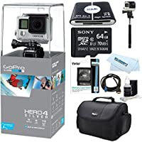 GoPro Hero 4 Silver Waterproof 4K Action Camera Kit AKA 6E-FCLG-XCZ9