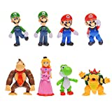 Oliasports 8 Pieces of Super Mario Brothers Bros Figure, 5' Large Size