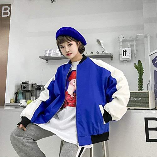 Casual Autunno Blau Zip Cappotto Lunga Bomber Donna Colori Relaxed Fashion Grazioso Ragazze Stlie Giacca College Misti Manica Giacche Pilot 5x6Upq0w