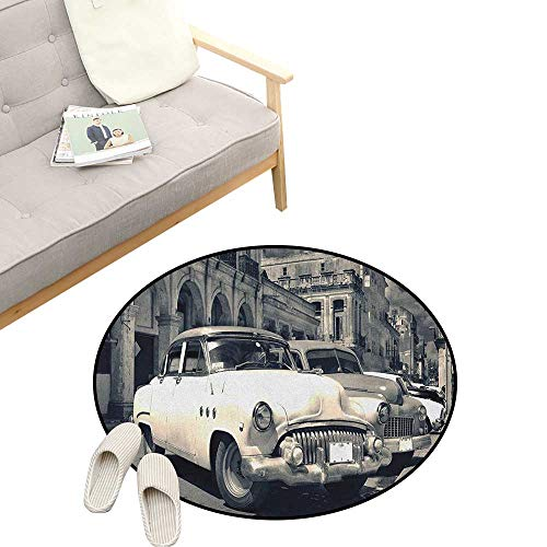Vintage Car Round Rug ,Panoramic View of Shabby Old Havana Street with Vintage Classic American Cars, Art Deco Non-Slip Backing Machine Washable 39