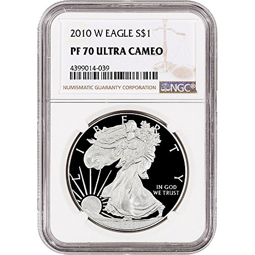 2010 W American Silver Eagle Proof (1 oz) Large Label $1 PF70 NGC UCAM
