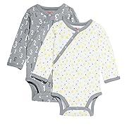 Skip Hop ABC-123 Side-Snap Long Sleeve Bodysuit Set, Grey, 6 Months