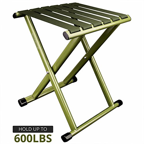 TRIPLE TREE Super Strong Portable Folding Stool, Heavy Duty Outdoor Folding Chair Hold Up To 600 LBS 1 Pack (Stool Portable Folding)