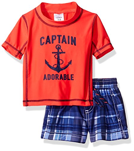 Carter's Baby Boys' Captain Adorable Short Sleeve Rash Guard Set, Red, 24 Months (Dinosaur Swim Trunks)