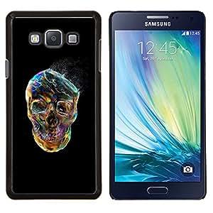 "Be-Star Único Patrón Plástico Duro Fundas Cover Cubre Hard Case Cover Para Samsung Galaxy A7 / SM-A700 ( Cráneo Negro vibrante colorido de humo"" )"