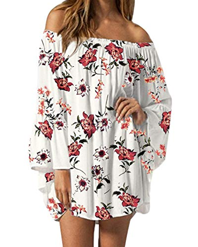 ZANZEA Women's Sexy Off Shoulder Floral Print Chiffon Ruffle Sleeve Blouse Mini Dress Y-White X-Large (fits Like US 14)