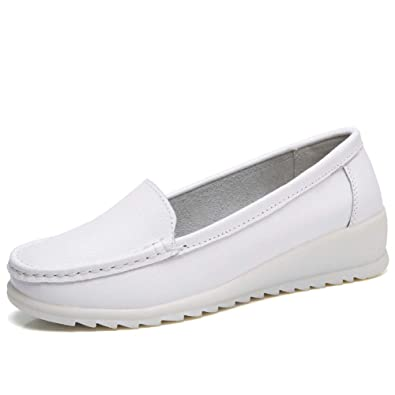 d8af1e7046e ZYEN Women s All White Nursing Shoes Comfortable Slip On Nurse Work Wedge Leather  Loafers (5.5