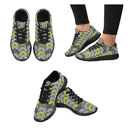 Interestprint Womens Väg Löparskor Jogging Lätta Sport Gå Atletiska Sneakers Abstrakta Blad