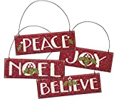 Ornaments - Set of 4 - Red Wooden Christmas Tree Holiday Home Decor ''Joy'' ''Peace'' ''Noel'' ''Believe''