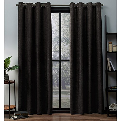 Exclusive Home Oxford Textured Sateen Woven Blackout Grommet Top Curtain Panel Pair, Espresso, 52x84
