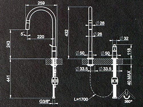 Gessi Mesh 60001 599 Mitigeur monocommande avec douchette extractible Finition finox et noir mat