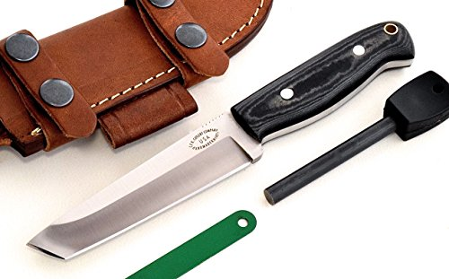 CFK Cutlery Company USA Custom Handmade SMALL BATTLE RAPTOR TANTO D2 Tool Steel Micarta Bushcraft Tactical Hunter Knife  Leather Sheath  Fire Starte…