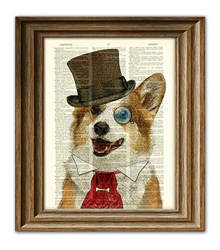 Dandy Corgi Is the Goodest Boy Dog In Top Hat and Victorian Tie Steampunk Art Vintage Dictionary Page Book Art Print