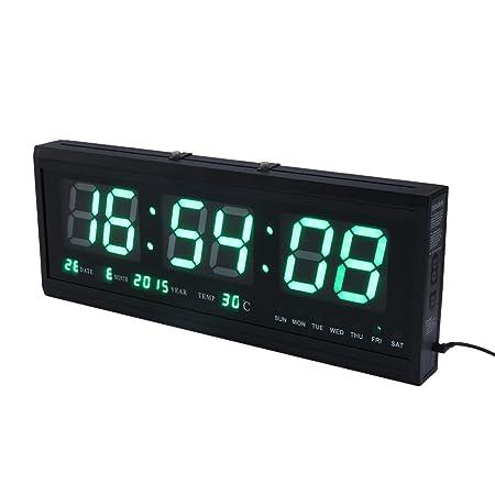 Reloj de pared grande verde LED Digital alarma del reloj temporizador de la batería con la temperatura del calendario 36 C: Amazon.es: Hogar