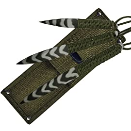 Fury Sea Camo 3-in-1 Throwers (9-Inch, 8-Inch, 6-Inch with Olive Drab and Tactical Nylon Sheath) 3 Spear Point All Steel Throwing Knives Paracord Wrapped Handles Perfect to Test Throwing Weights