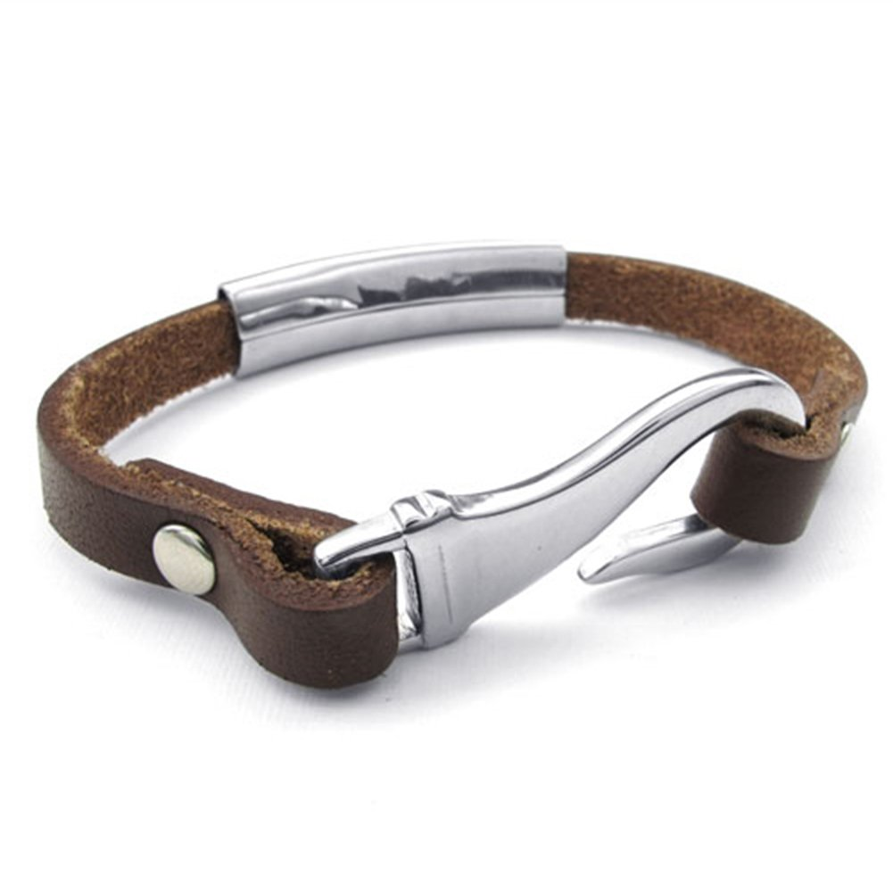 TEMEGO Jewelry Mens Womens Leather Stainless Steel Bracelet Cuff Bangle