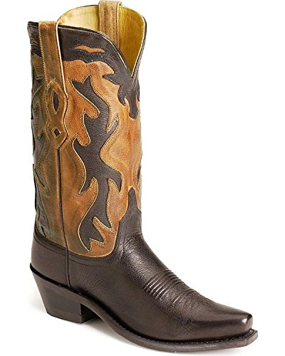 Old West Women's Inlay Cowgirl Boot Black 5.5 M US