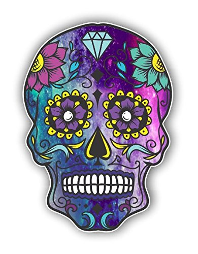 (Vinyl Junkie Graphics Sugar Skull Sticker Dia de Los Muertos Decal Mexican Day of The Dead Stickers for Notebook car Truck Laptop Many Color Options (Starry Sky) )