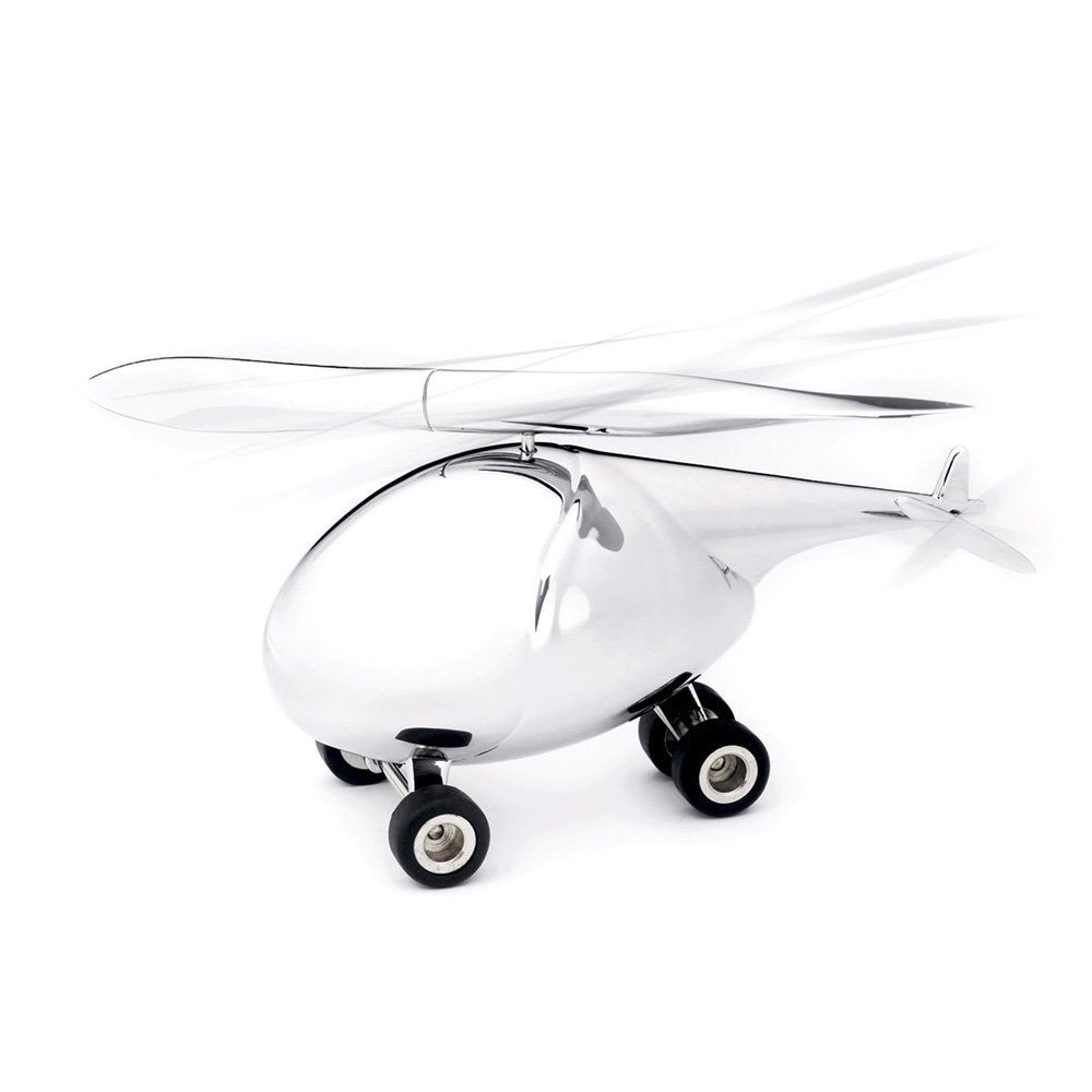 lucido TROIKA-originale TROIKA HELICOPTER cromato nero Porta graffette con penne a sferra e fermacarte GAM13//CH argento metallo pressofuso