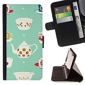 For Samsung Galaxy Note 5 5th N9200 Case , Patrón de la taza de té de porcelana minimalista- la tarjeta de Crédito Slots PU Funda de cuero Monedero caso cubierta de piel
